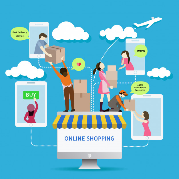 best service 47ec3 faf02 flat-style-mobile-online-store-e-commerce-icons-infographics ...
