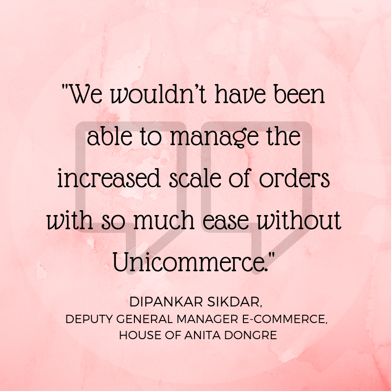 Dipankar Sikdar on Unicommerce House of anita dongre partnership