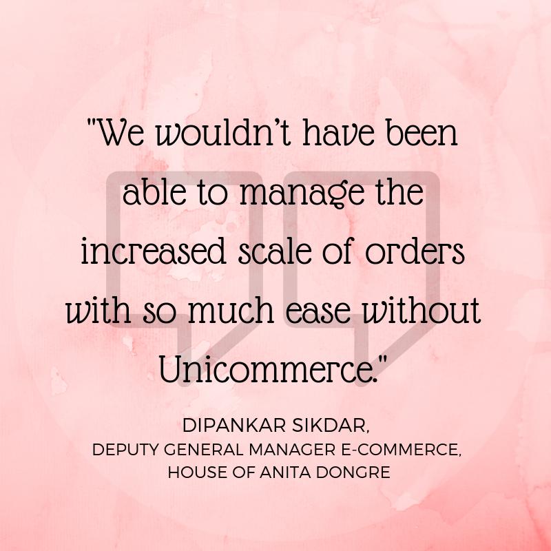 Dipankar Sikdar on Unicommerce House of anita dongre partnership