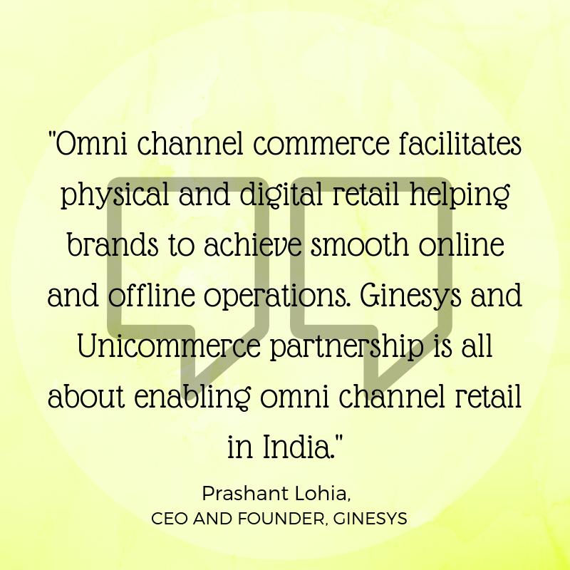 Prashant on Ginesys Unicommerce Partnership to enable omni channel for brands